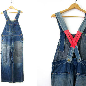 Destroyed Overalls Denim Bibs FLINT Jeans Distressed Blue Jean Coveralls Workwear Carpenter Pants Farmer Work Pants Utility Bibs 36 x 26