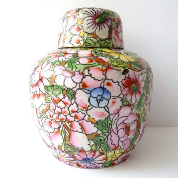 Antique Colorful Hand Painted China Porcelain Pot - Vase - Vintage - Macau
