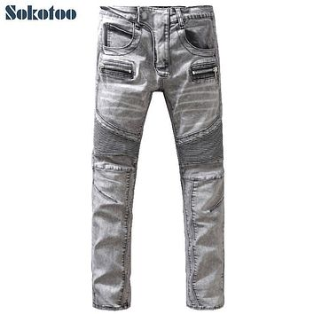 Sokotoo Men's vintage washed light gray slim straight biker jeans Large size casual denim pants Long trousers