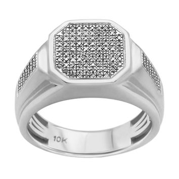 0.35ct Round Diamonds in 10K White Gold Men's Signet Ring