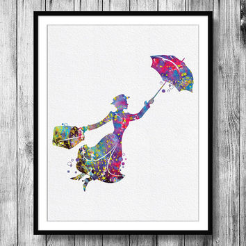 Instant Download Mary Poppins Silhouette Watercolor Art Digital Printable JPEG Wall Art For Home Decor Art Wall Decor