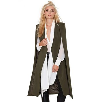 Women Casual Open Front Blazer Suits With Pocket Cape Trench Coat Duster Coat Long Line Cloak Poncho Coat