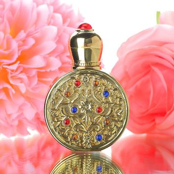 Vintage Gold Retro Metal and Glass Empty Women Perfume Bottle Container Refillable Essential Oil Bottle Portable Lady Gift 3ml