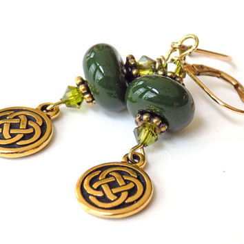 Green Earrings, Lampwork Beads, Swarovski Crystals, Celtic Knot Dangle, Gold, St. Patrick's Day, Short Earrings, Handcrafted Earrings