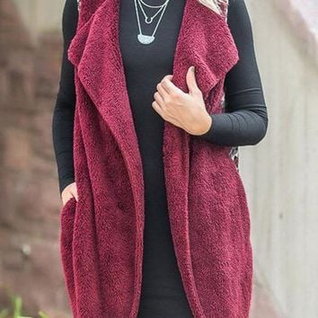 New Red Faux Fur Floral Pockets Sleeveless Casual Coat