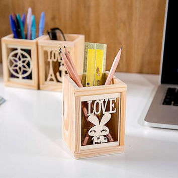 Hollow wood pen holder stationery storage box office desk organizer Desktop Make Up  container home decor