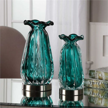 Uttermost Gabriela Teal Glass Vases S/2
