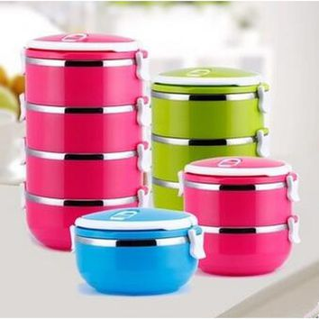 Layers Tier Stainless Steel Square Food Container Bento Lunch Box Portable