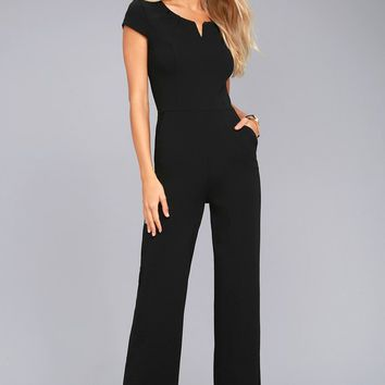 Goal-Getter Black Short Sleeve Jumpsuit