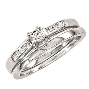 Ladies 14k White Gold 0.25CT Princess Cut Diamond Bridal Ring Set