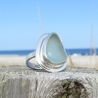 Sea Glass Pale Aqua Sterling Silver  Ring