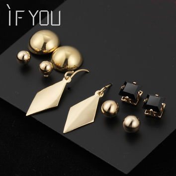 5 Pairl/Set unicorn Gold Color beads Stud Earrings For Women Engagement Wedding steampunk Jewelry Drop ship boucle d'oreille