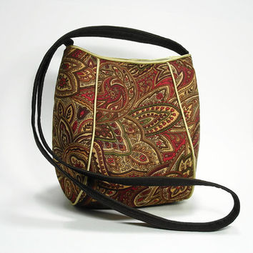 Crossbody Bag Purse/ Brown Paisley Print Fabric Purse Bag/Hip Bag/Fabric Hip Bag/Shoulder Strap Purse Bag