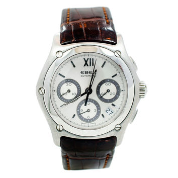 EBEL CLASSIC WAVE E9126F41 CHRONOGRAPH DATE LEATHER AUTOMATIC MENS WATCH
