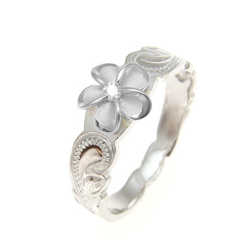 925 Sterling Silver Hawaiian Scroll Rhodium CZ Plumeria Flower Ring Size 1-10