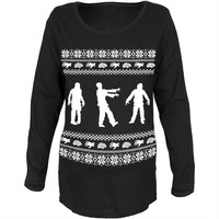 Zombie Ugly Christmas Sweater Black Womens Soft Maternity Long Sleeve T-Shirt