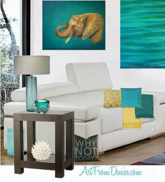 Teal Decor, Turquoise And Orange, Yellow From ArtFromDenise