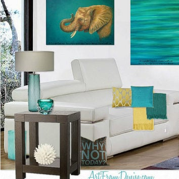 Teal decor, turquoise and orange, yellow and teal. Elephant wall art,  artwork,Painting,Teal and brown,Boys room decor,Elephant nursery.24x30