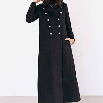 Silence + Noise Military Blackout Duster Coat- Black