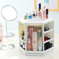 360 Degree Rotating Plastic Storage Box Case Organizer For Cosmetic Makeup Stand Holder Storage Box For Jewelry 32x27cm