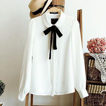 Spring Fashion female elegant bow tie white blouses Chiffon peter pan collar casual shirt Ladies tops school blouse Women