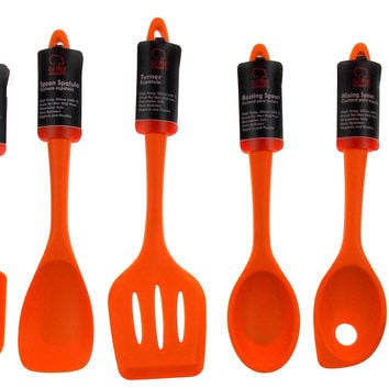 Set of 7 Orange Kitchen Utensil Silicone Chef Craft Mixing Spoon Spatula Turner