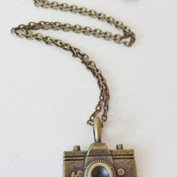 Camera Necklace in Antique Brass
