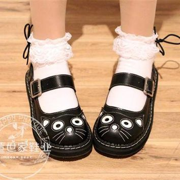 4 Colour Japanese Lolita Shoes Cat Retro Round Toe Princess Woman Girl Cos Cosplay Shoes