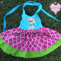 Little Monster/Henry Monster Appliqued Dress/Baby dresses/Toddler Dresses/Girls Dresses/Boutique Clothing/Appliqued Dresses