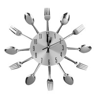 Spoon Fork Wall Clock for Kitchen Dining Room