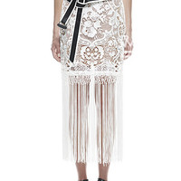 White Floral Crochet Fringed Lace Maxi Skirt