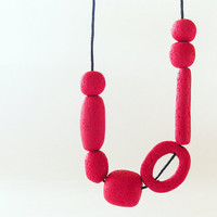 Red Cherry Geometric Necklace Minimalist Modern Asymmetrical Necklace Fimo Clay Bead Necklace Hand Rolled