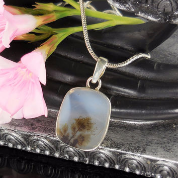 Dendritic Agate Sterling Silver Pendant/Necklace