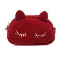 Wine Red & Gold Embroidered Suede Sleeping Kitty Purse