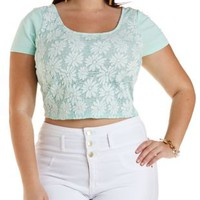 Plus Size Mint Daisy Lace Crop Top by Charlotte Russe