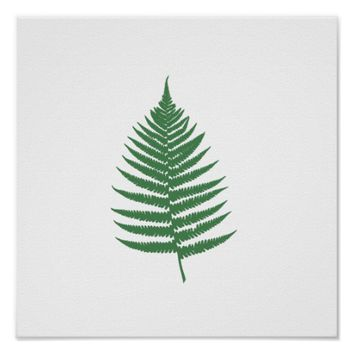 Green Fern Leaf Minimalism Square Wall Poster