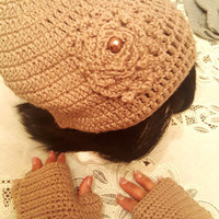 "L/XL Tan ""Handmade"" Crochet Beanie Set. Ready to Ship"