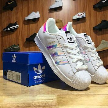 LMFON Adidas Superstar Shell-toe Flats Sneakers White Black Colorful Causel Sport Shoes