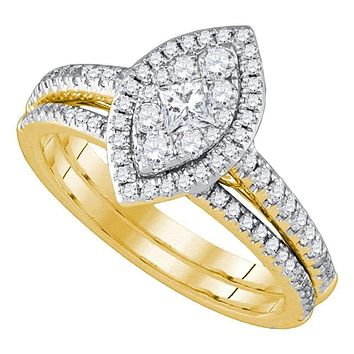 14kt Yellow Gold Womens Princess Diamond Marquise-shape Cluster Bridal Wedding Engagement Ring Band Set 3-4 Cttw