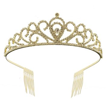 DK FASHION Princess Crystal Girls Hair Tiara Crown Mini Hair Combs hair jewelry