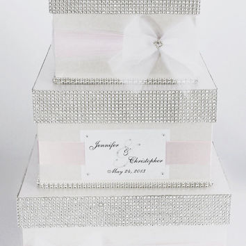 Card box / Wedding Box / Wedding money box - 3 tier - Personalized - light pink