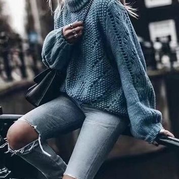 New Blue Cut Out Round Neck Long Sleeve Casual Sweater