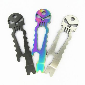 EDC Titanium Bottle Opener Wrench Skulls Multi Tool Outdoor Stainless Steel Tactical Survival Pocket Keyring Pendant Accessories