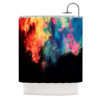 "Caleb Troy ""Rainbow Black"" Shower Curtain"