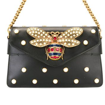 Small honeybee pearl chain small square bag with simple shoulder bag Black