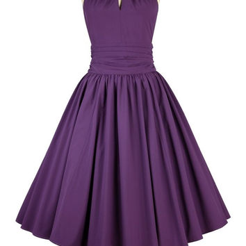 Purple Key Hole Dress Knee length Retro Vintage Style