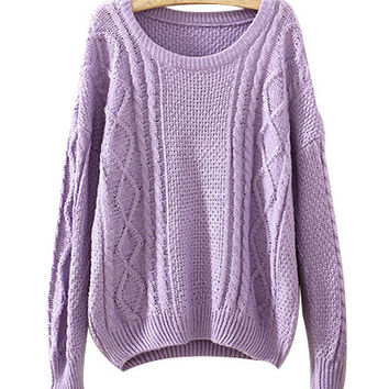 Purple Chunky Knit Sweater