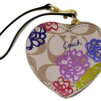 Coach Daisy Applique Heart Coin Purse, Style 62349, Multicolor