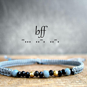 BFF, secret message gift, inspiration jewelry, morse code crystal bracelet, friendship, custom name, jewelry for girls, best friend forever