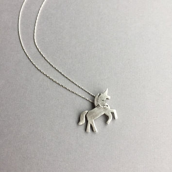 """Magical Unicorn Charm Pendant, Silver Unicorn Necklace, Fantasy Fairytale Jewelry, Mythical Creature, 18"""" Sterling Silver, Quirky Gifts"""